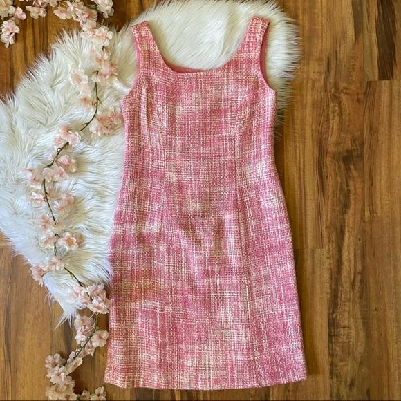 Eliza J Vintage 90s y2k Pink Tweed Sheath Dress